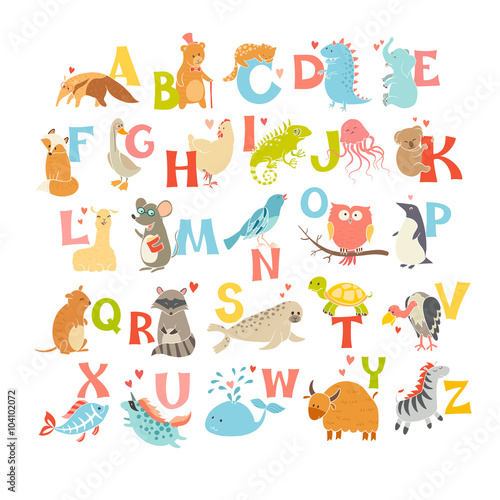 plakat Cute vector zoo alphabet. Funny cartoon animals. Vector Illustration EPS10 isolated on white background. Letters. Learn to read