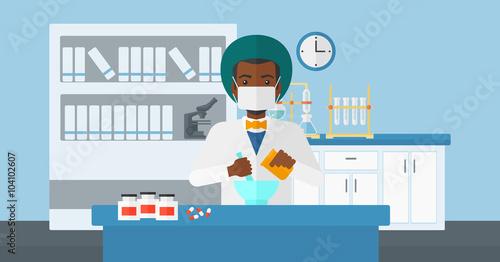 Fototapety, obrazy: Pharmacist preparing medicine.