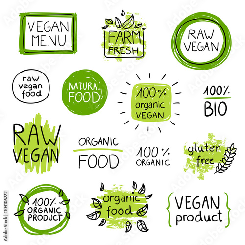 Fotografie, Obraz  Vector Illustration of Healthy Organic Vegan Food Lables