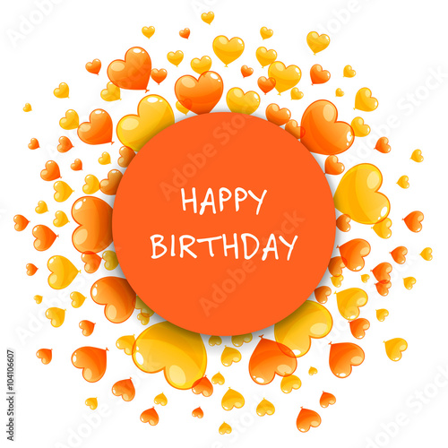 Vector Illustration Of A Happy Birthday Greeting Card With Orange