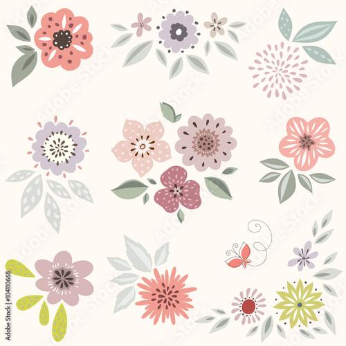 Floral Set Wallpaper Mural