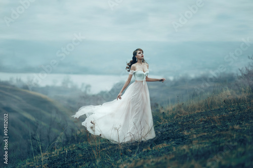 Fotografija  The girl in transparent dress with long flying pastel train stands on the top