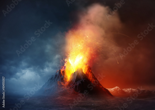 Recess Fitting Deep brown Volcano Eruption. A large volcano erupting hot lava and gases into the atmosphere. Illustration.
