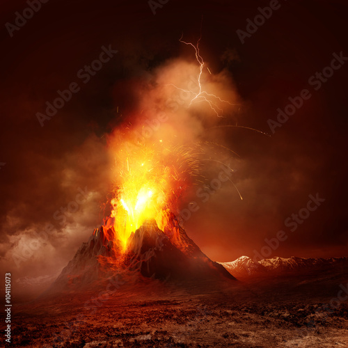 Wall Murals Magenta Volcano Eruption. A large volcano erupting hot lava and gases into the atmosphere. Illustration.