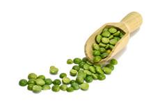 Green Lentils In Wooden Scoop