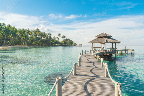 fototapeta na ścianę Summer, Travel, Vacation and Holiday concept - Wooden pier in Ph