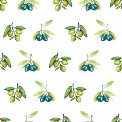 FototapetaSeamless pattern of olives in watercolor
