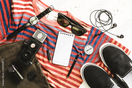 Overhead view of men's casual outfits, Outfits of traveler, boy,