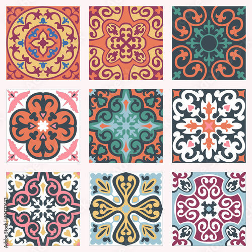 Deurstickers Marokkaanse Tegels Set with Beautiful seamless ornamental tile background.