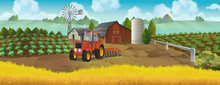 Farm, Panorama Landscape, Vector Background