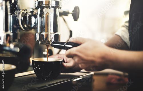 Barista Cafe Making Coffee Preparation Service Concept Wallpaper Mural