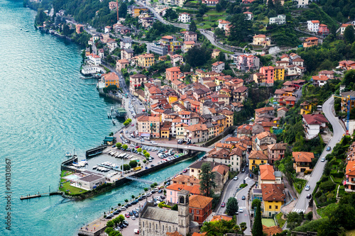 High resolution aerial view of the picturesque colorful Italian town Argegno by Lake Como Canvas Print