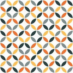 Fototapeta Orange Geometric Retro Seamless Pattern