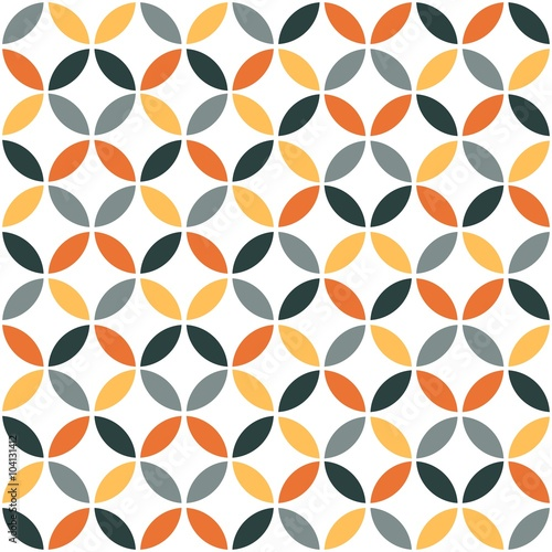 plakat Orange Geometric Retro Seamless Pattern