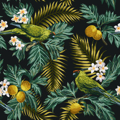 Fototapeta Do jadalni Seamless tropical pattern with leaves, flowers and parrots.