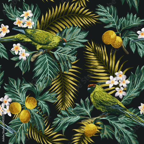 Cotton fabric Seamless tropical pattern with leaves, flowers and parrots.