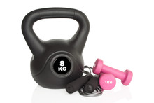 Workout Equipment. Dumbbells, Kettlebell And Skipping Rope Isolated On White Background. Weights For A Fitness Training.