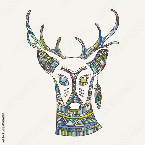 the-deer-mascot-illustration-in-ethnic-tribal-boho-style-boho-print-trendy-hipster-print