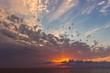 Beautiful sunrise with dramatic sky over Black sea, Crimea
