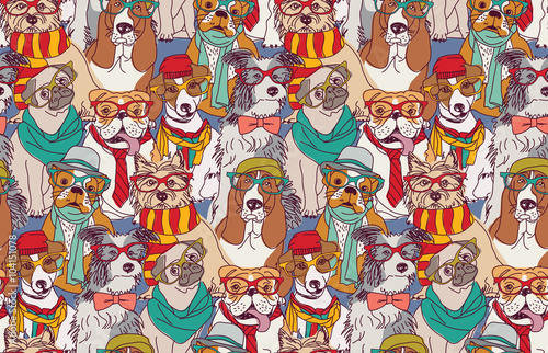 plakat Cute dog fashion hipster seamless pattern.