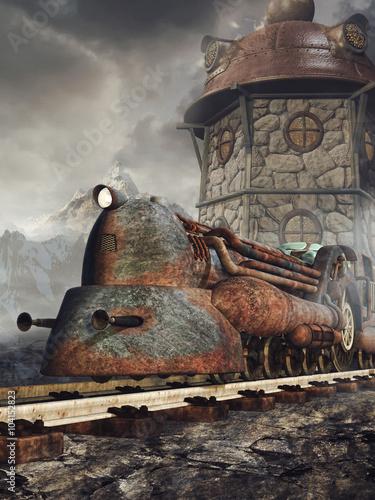 Obrazy na płótnie Canvas Stara zardzewiała lokomotywa na tle wieży