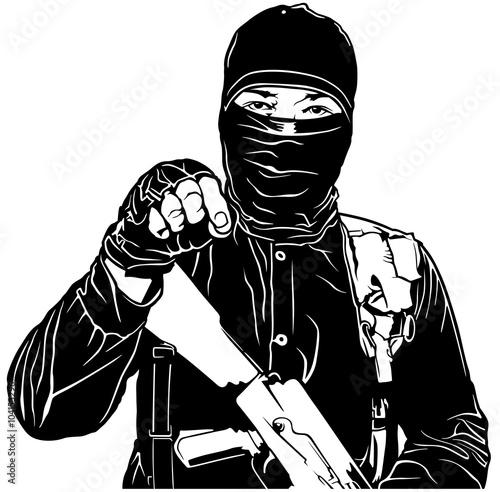 Fotografía  Terrorist in Black and Mask with Kalashnikov - Black Illustration, Vector