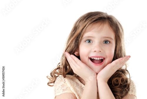 Fototapeta Portrait of adorable surprised little girl obraz