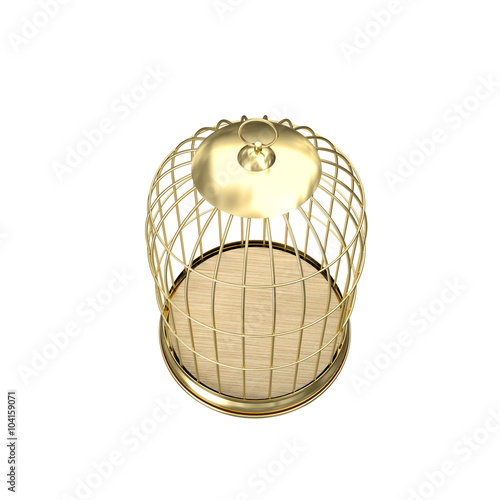 Fotografia  3d golden birdcage