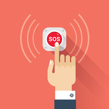 Hand Press SOS Button Icon. Vector Image Isolated On Red Background.