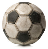 Old Soccer Ball Isolated on White / Detail of a old black and white soccer ball isolated on white background