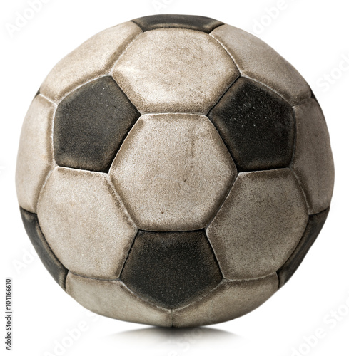 Photo  Old Soccer Ball Isolated on White / Detail of a old black and white soccer ball