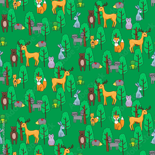 Fotografie, Obraz  Seamless pattern with different anumals in a forest in cartoon s