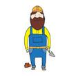 Little cute bearded builder