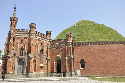 Fototapeta View of Kosciuszko Mound, with Blessed Bronislawa Chapel at its foot located in Krakow, Poland obraz