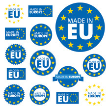 Made In European Union Labels, Badges And Stickers