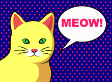 Pop Art  Yellow Cat With Text ...