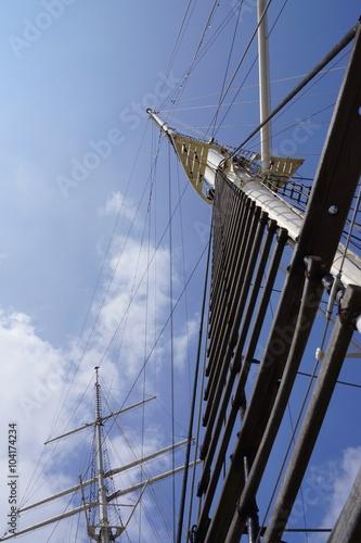 Fototapeta  Mainmast of a sailing ship under blue sky