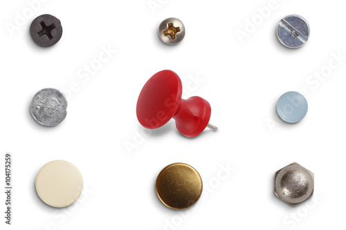 Fotografía  Different screw heads and pins isolated on white with clipping path