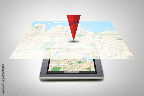 tablet pc with gps navigator map on screen - Buy this stock