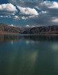 Lake in the mountains landscape (Bartogai reservoir), Central Asia, Kazakhstan