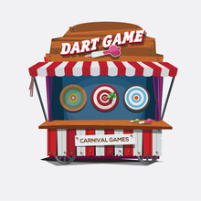 Balloon Dart Game. Carnival Cart Concept - Vector