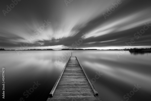 Fotografie, Obraz  Jetty on a lake in black and white