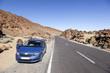 car near road in national park El Teide on canarian island of te