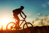 Rider on Mountain Bicycle it the field