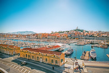 Panoramic Cityscape Of Vieux Port, Marseille, Provence, France