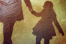 Shadow Of A Little Girl And Wo...