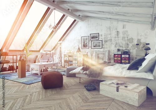 Sunlight shining into modern hipster loft bedroom u2013 kaufen sie diese