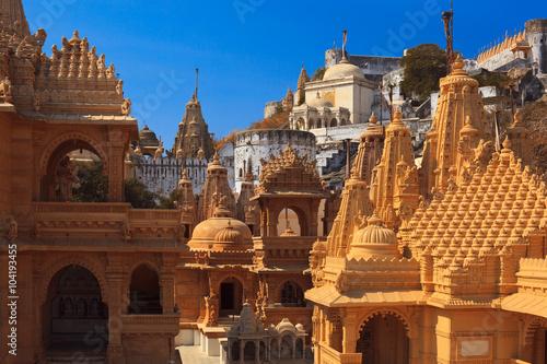 Jain temple complex on top of Shatrunjaya hill Canvas Print