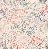 Seamless tiling postage themed pattern with vintage stamps - 104194628