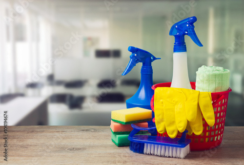 Fotografie, Obraz  Office cleaning service concept with supplies